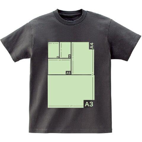 用紙サイズ測定Tシャツ グレー