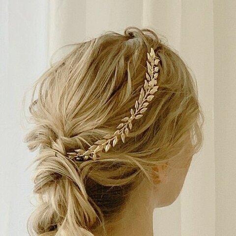 ウェディング ウエディング ブライダル ウエディングヘッドドレス 和装 成人式 パーティ 髪飾り ヘアアクセ【goldの葉】