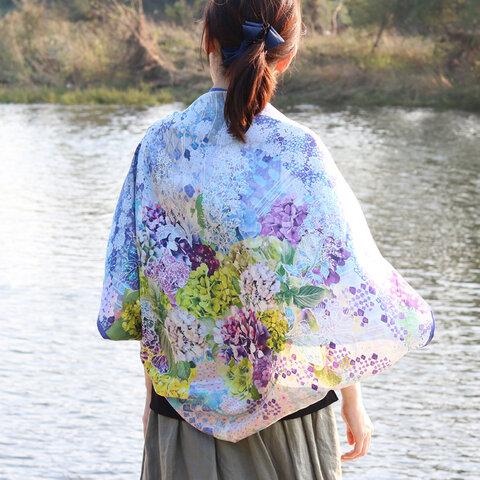 【シルクスカーフ】「水の器 紫陽花浮かべて」手巻き縫製•ブルー