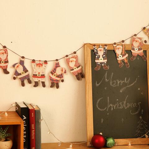 クリスマスガーランド【可愛いぶらさがりサンタさん】(YX-12)