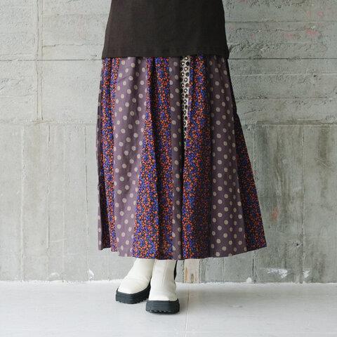 花柄×水玉パッチワークロングスカート(21w-15)パープル×キャメル
