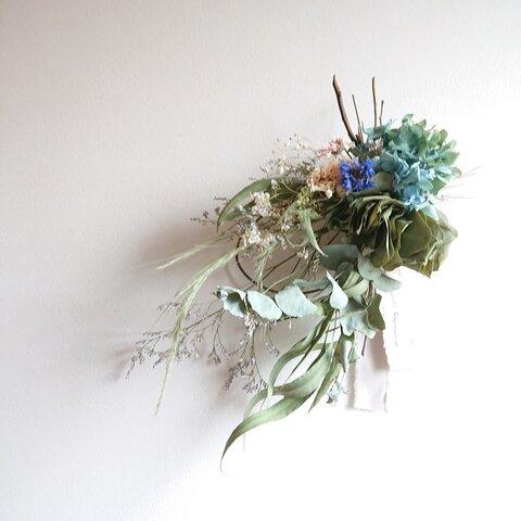 ユーカリと紫陽花のリース スワッグ H111