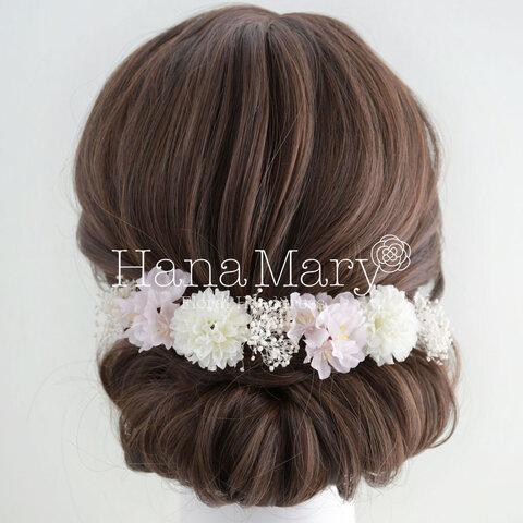 かすみ草 髪飾り 桜 成人式 髪飾り 結婚式