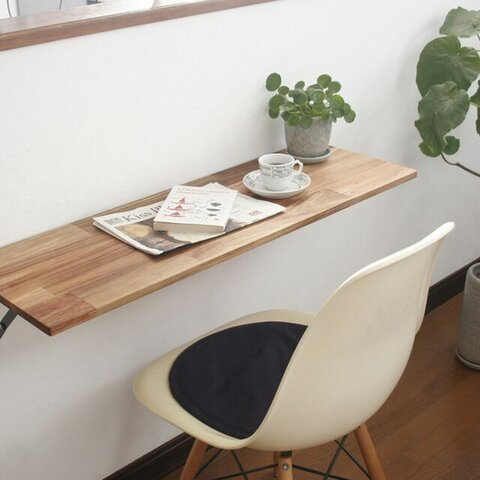 アカシアの折りたたみ式カウンターテーブル:幅60~91cm×奥行40cm【壁付け】