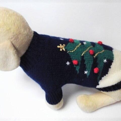 紺に大きなクリスマスツリー柄のセーター(SS-1875)