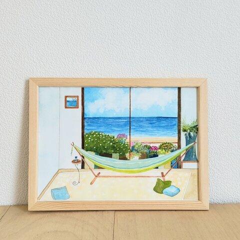 ハンモックのある海の見える部屋(原画)