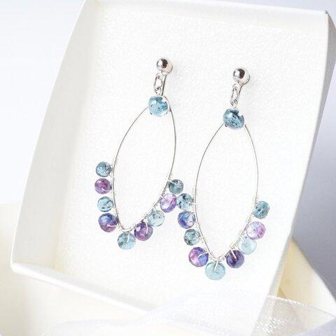『雨粒』万能2wayイヤリング モスカイヤナイト×ミスティックカイヤナイト くすみブルーの天然石