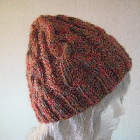 ニットキャップ・模様編み