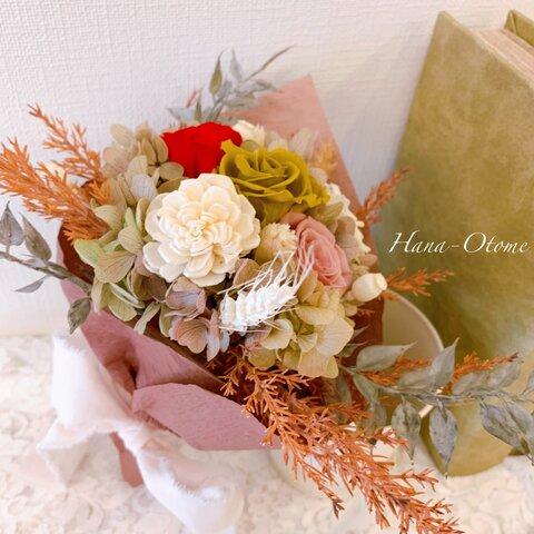 アンティークでシックな秋冬カラー プリザーブドフラワー 枯れない花束  贈り物に♡