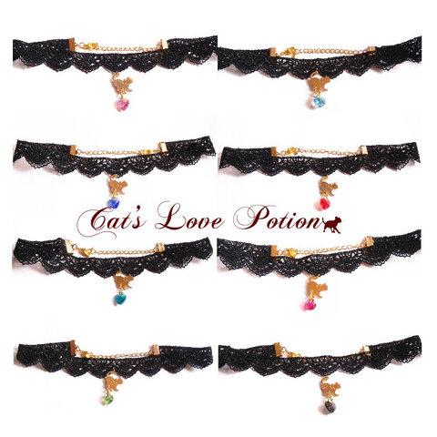 猫 ハート スワロフスキー ブラック レース チョーカー ネックレス Cat's Love Potion