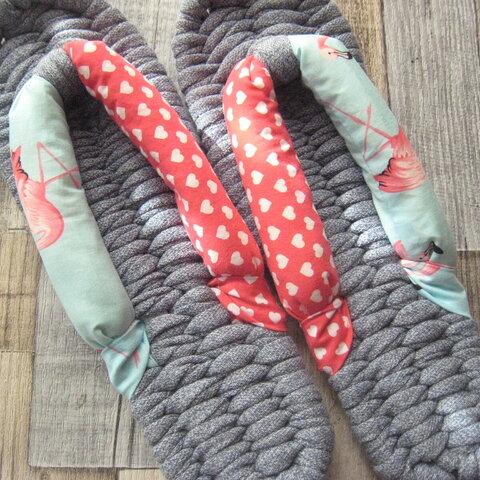 布ぞうり:くすみブルーグレー 25.5cm/ハート&フラミンゴ