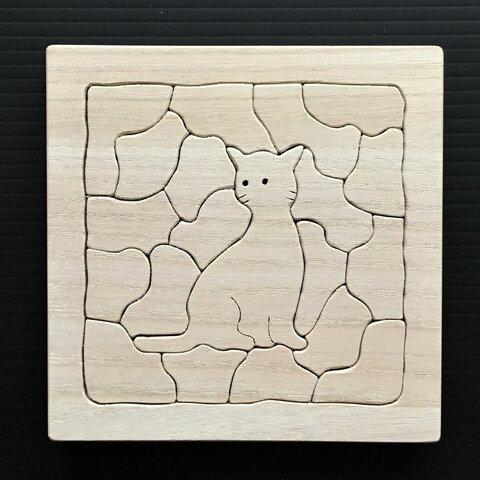 木製 にゃんこジグソーパズル A-13 12cm×12cm