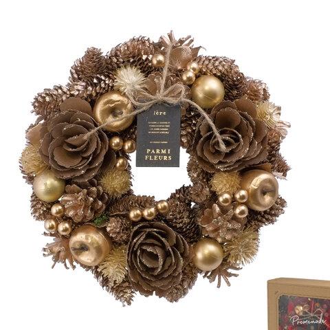 【早割特別価格】クリスマスリース  ブロンズゴールド クリスマス リース クリスマスギフト お正月飾り しめ縄 しめ飾り スワッグ お正月リース 玄関リース ドアリース クリスマススワッグ