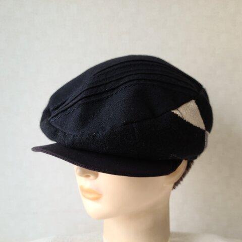 魅せる帽子☆かなり小さめ!!ラメニット、ウール、スエード&ベロアのリバーシブルハンチング~ブラック