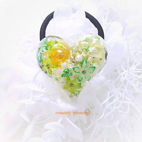 【送料無料】お花のヘアゴム 天然石 水恋花ハート レジン