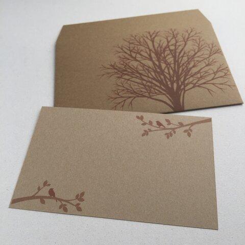 森のミニ封筒&メッセージカード セット