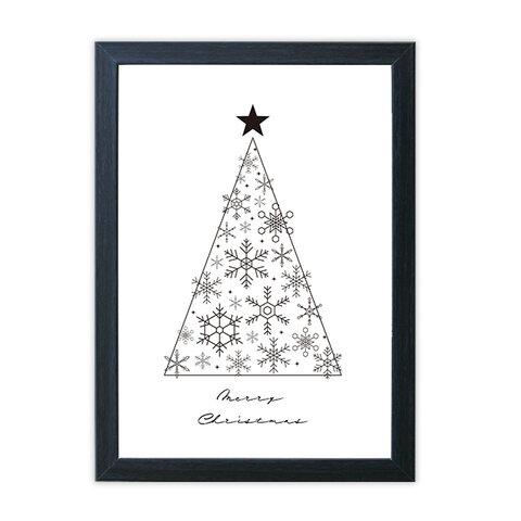 クリスマス ポスター クリスマスツリー モノクロ