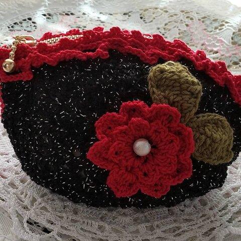 深紅のバラポーチ・財布・かぎ針編み