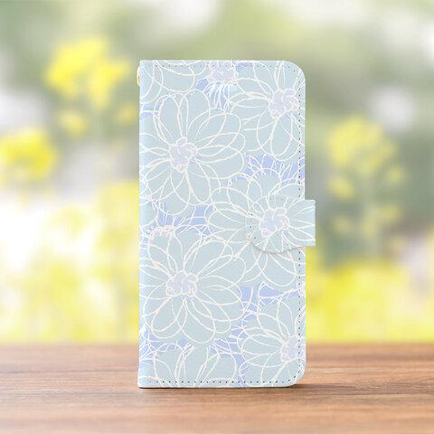 コットンフラワーブルーの スマホケース 手帳型 アンドロイド iPhone XPERIA GALAXY AQUOS HUAWEI ケース 全機種対応 花柄