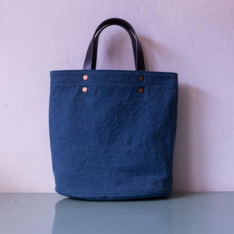 イタリア製紺色持ち手が付いた18oz ブルーバイオウォッシュキャンバスオーバル楕円バッグIND0909