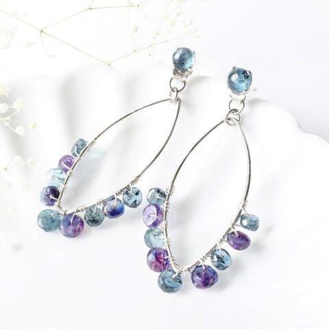 『雨粒』万能2wayピアス モスカイヤナイト×ミスティックカイヤナイト くすみブルーの天然石