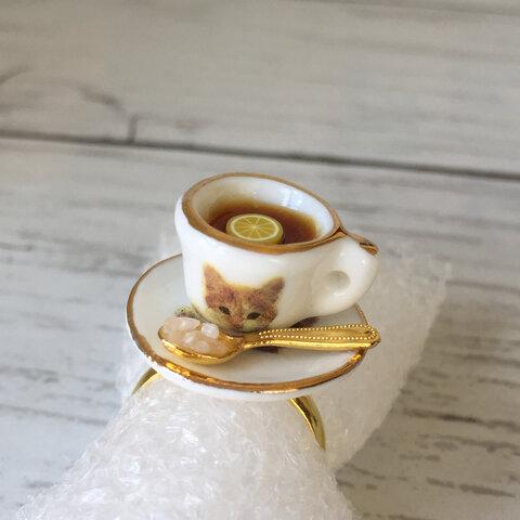 【再販】猫カフェでレモンティー♪カップ&ソーサーリング【金属アレルギー対応】