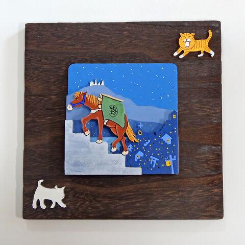 「長崎の街と対州馬」~ 立体ウォール・デコ 焼桐 20×20×13