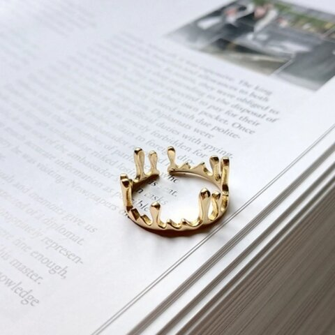 silver925 crown gold ring