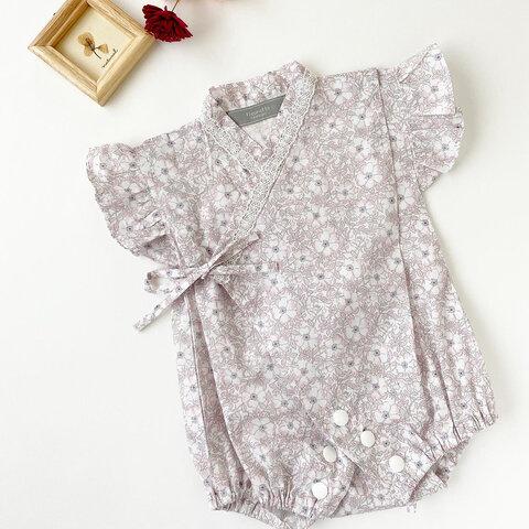 【60-70】𝐿𝑖𝑏𝑒𝑟𝑡𝑦メイモリス フリルベビー甚平ロンパース[ピンク] 夏祭り お祭り ベビー服
