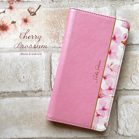春の桜の手帳型スマホケース  iphone13 iphone12  iphone11 全機種対応 花 手帳型 スマホケース 桜 春