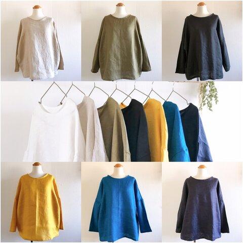 ・*:.. ヨーロッパリネンのシンプルなロングTシャツ