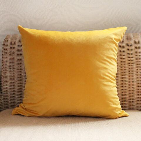 送料無料 イエロー ベロア 45cm クッションカバー 黄色
