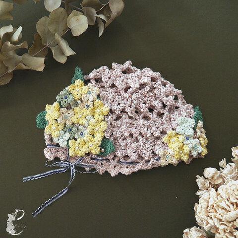 リボン総手編み紫陽花のニット帽
