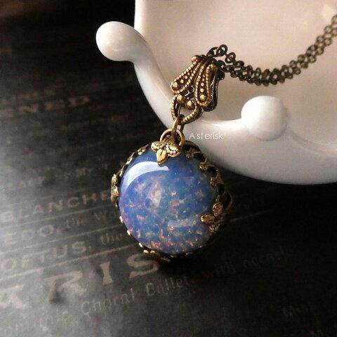 チェコガラス* 大粒18mm*ブルーオパールのネックレス(AB)