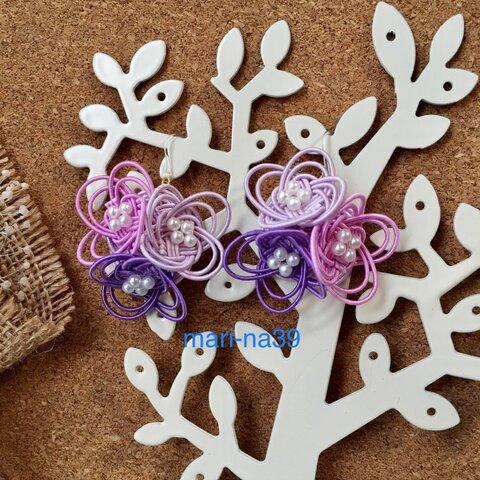 雨の日も楽しく♪紫陽花のピアス