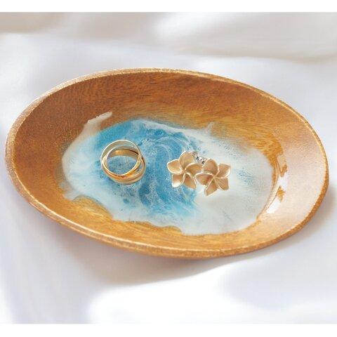 アクセサリートレイ (小さな海シリーズ)  レジンアート      木製トレイ アカシア 2