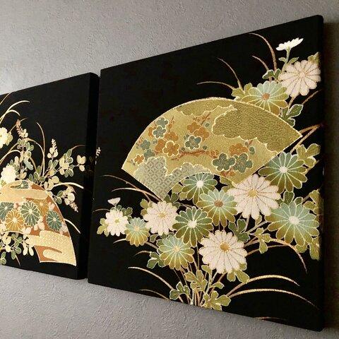着物のファブリックパネル 扇と緑菊 (2枚セット)