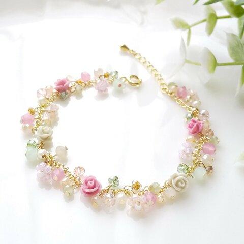 薔薇と小花のブレスレット【ピンク&グレイ】*受注制作
