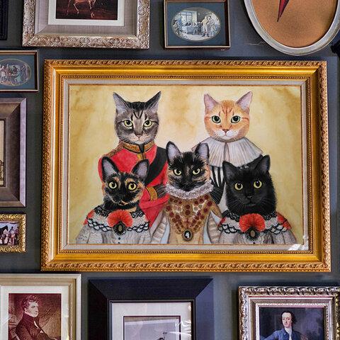 並んで肖像画風*うちの子のオーダーメイド*ペットさんの似顔絵*猫