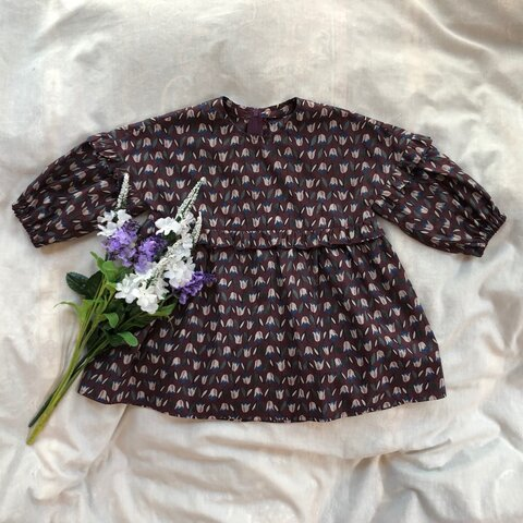 SALE!30%OFF ドロップショルダーOP(小花パターン)(red brown)