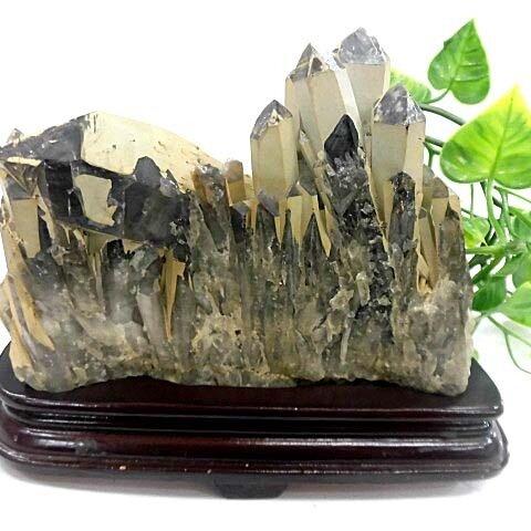 天然石 黒水晶クラスター 台座付   200720588