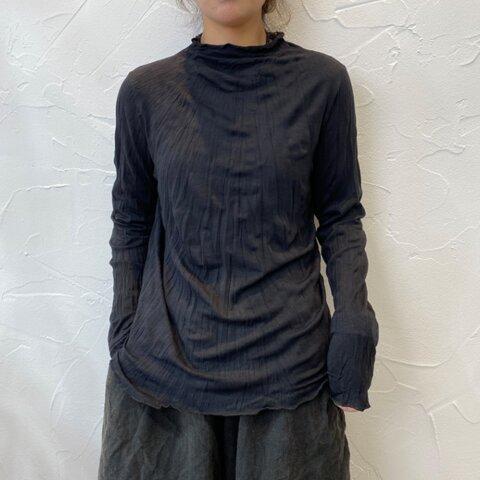 New【秋 冬】ブッラク コットン 長袖Tシャツ、無地のベースシャツ