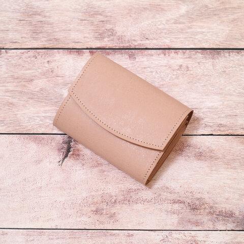 【ナチュラル】コロンとしたヌメ革のミニ財布(ナチュラル)