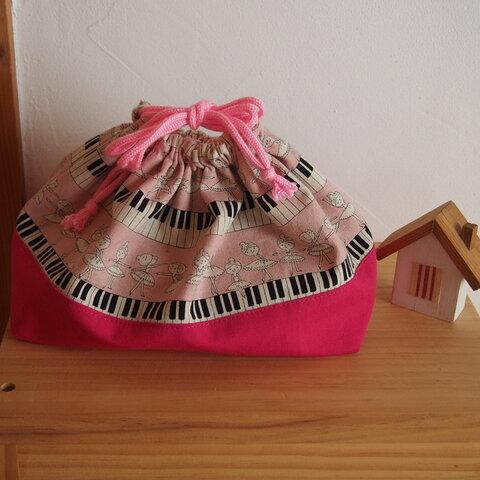 入園入学に♪鍵盤の上で踊るバレリーナ柄♪ お弁当袋 ピンク色