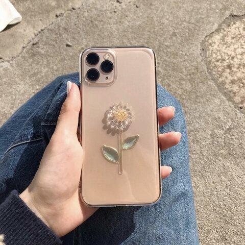 小さなクリアひまわりのケース       ひまわり 向日葵 お花 iPhoneケース スマホケース お花ケース クリア 透明 クリアケース フラワーケース iPhone全機種対応