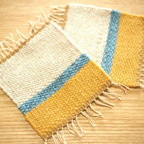 手織りコースター✳ 北欧 ✳同色2枚組✳