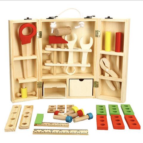送料込み価格★入荷×再販4★ 大工さん工具セット 木のおもちゃ 幼児木製ツールボックス 組み立 モンテッソーリ 収納箱 知育玩具