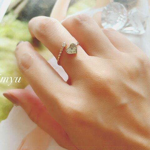 Heart Gold Spiral Ring