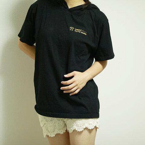 ウィメンズ フード付きTシャツ ブラック