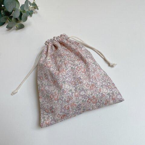 ◇4サイズ◇ リバティ   ミシェル パールベージュ 巾着袋 / 選べるワッペン♦
